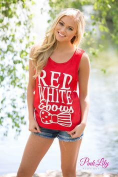 Just in time for the 4th of July, check out this brand new tank! Featuring white vinyl letters and an adorable vinyl bow with stars and stripes, this tank is perfect to rock all summer long! Add sandals, shorts, and a pair of sunglasses to complete this casual look.