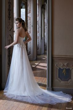 jillian 2016 wedding dresses strapless straigh across neckline beautiful tulle a line wedding dress camilla back view