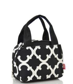 Monogrammed Lunch Bag Black Quatrefoil by DoubleBEmbroidery on Etsy