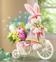 Fiber Optic Floral Easter Bunny Bicycle Planter