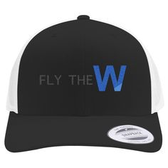 Fly The W - Cubs Playoff Embroidered Retro Embroidered Trucker Hat