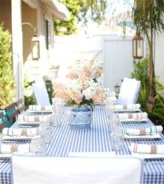 blue and white outdoor dining
