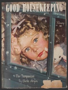 Alex Ross 1946 Good Housekeeping Magazine Cover ~ Child Watches Snowflakes