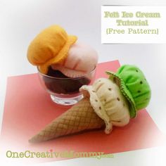 Felt Ice Cream Tutorial and Free Pattern {OneCreativeMommy.com} So delicious!