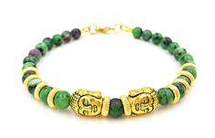 Ruby Zoisite Men Buddha Gem Bracelet Natural Stones Green