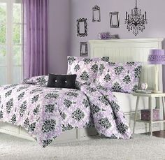 Black white and purple damask bedding