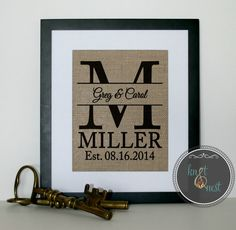 Couples Gift, Monogrammed Gift, Gift for Couples, House Warming Gift, Couples Gift, Housewarming Gift BURLAP PRINT