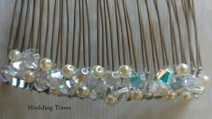 Wedding Tones: DIY: Handmade Bridal Hair Comb With Crystals and pearls Crystal Beads, Crystals, Hair Comb, Bridal Accessories, Bridal Hair, Diy Jewelry, Beaded Bracelets, Pearls, Silver