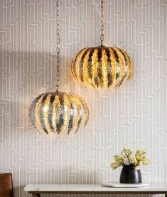 A metallic pendant with ornate leaf style design in either a gold or silver paint finish, great for living spaces, hallways or bedrooms. Great for modern spaces. Lantern Pendant, Leaf Pendant, Round Pendant, Pendant Lighting, Front Rooms, Silver Paint, Tropical Style, Modern Spaces, Wall Patterns