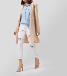 Pinkfarbener, strukturierter Mantel