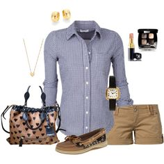 Casual khaki shorts outfit created by tsteele