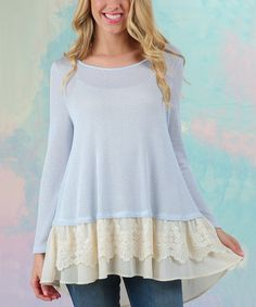 Look at this #zulilyfind! Sky Blue Flirt & Frolic Lace-Trim Sweater #zulilyfinds