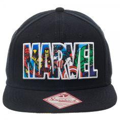 d893dd5f056 Marvel Comics Text Logo Snapback Hat Marvel Clothes
