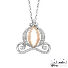 No wand is needed to create this entrancing diamond carriage pendant from the Enchanted Disney Collection inspired by Cinderella. Crafted in 10K white and rose gold, this magical choice features graceful swirling diamond-lined white gold and polished rose gold filigree to conjure up this iconic design. Captivating with 1/2 ct. t.w. of diamonds and a brilliant buffed luster, this timeless pendant suspends along a 17.0-inch cable chain with 2.0-inch extender that secures with a spring-ring...