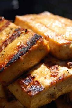 Sesame grilled tofu!  Just made this tonight and it was yummy.  Rod and Adelina liked it too.