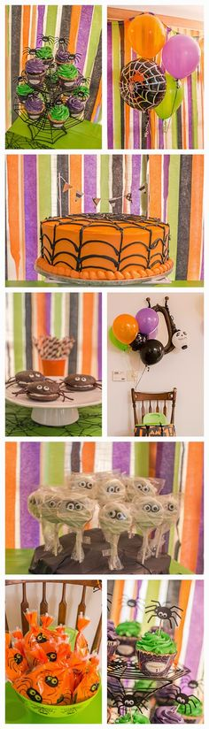 Halloween Spider Birthday Party.  First birthday || 1st birthday || Spider || Spooky || baby || boy || orange green purple black || party || dessert || cute || neon lime green || itsy bitsy spider