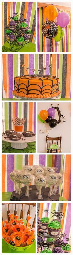 Halloween Spider Birthday Party.  First birthday || 1st birthday || Spider || Spooky || baby || boy || orange green purple black || party || dessert || cute || neon lime green || itsy bitsy spider