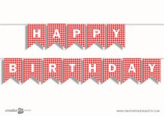 Red Bunting Flags printable banner * Happy Birthday * instant download banner - wall decoration - DIY ready to print - plaid picnic banner