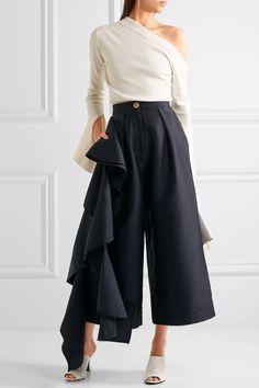 Solace London   Margo ruffled charmeuse culottes   NET-A-PORTER.COM