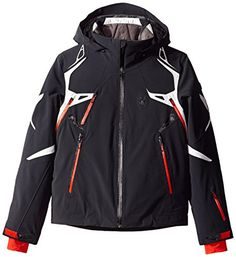 Spyder Men's Pinnacle Jacket, Black/Cirrus/Volcano, Medium ** Find out more about the great product at the image link.