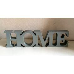 "Scritta decorativa ""Home"" in legno, azzurra cm 28,5 x 2,5 x 7,5 H"