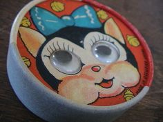 Occupied Japan Vtg Dexterity Puzzle Game Toy Googly Eyes Cat Children
