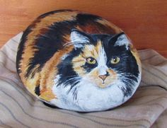 Long haired cat painted rock