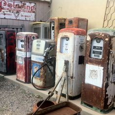 Old gas pumps seen at antique store near Sedona