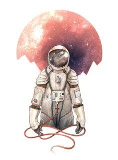 Astronaut 9x12 Illustration Print by CaitlinRussellArt on Etsy