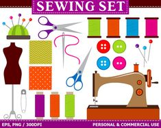 BUY 1 GET 1 FREE  Digital Sewing Clip Art by TheCreativeMill