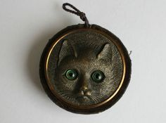 Antique Victorian Gilt Metal Cat Face chatelaine pin cushion. The circular pin cushion measures 5cm in diameter by 2cm deep. It is made with a silk cord loop so that it can be hung from a chatelaine. | eBay