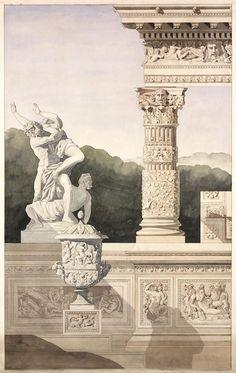 Architectural composition drawing for a château d'eau, 1873