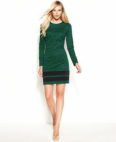 MICHAEL Michael Kors Dress, Long-Sleeve Printed Colorblock Shift