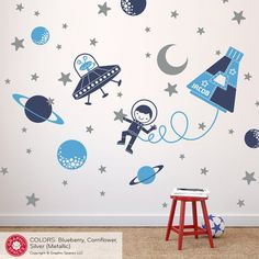 Space Boy Wall Decal Sticker Outer SpaceWalk for by graphicspaces