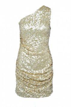 Gold One Shoulder Sequin Dress