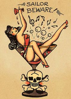 Sailor jerry pin up girl tattoo drawing