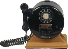 Explosion/Bomb Proof Rotary Telephone, Western Electric 520 Type Round Telephone Set on Wood Base. These were used in mines and other places...