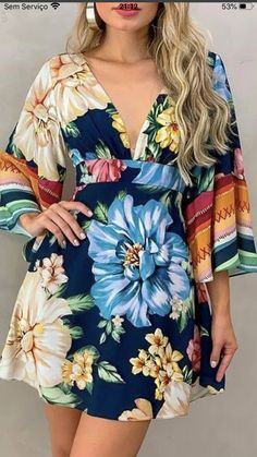 Casual, Floral Tops, Cover Up, Dresses With Sleeves, Long Sleeve, Women, Fashion, Block Prints, Vestidos