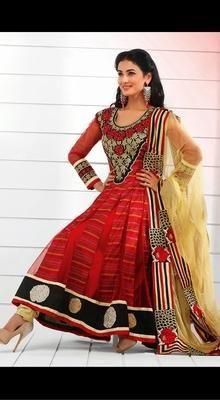 Bollywood Celebrity Sonam Chauhan in Long Net Anarkali Suit