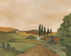 Sunny Tuscan Road Print by J. Clark at Art.com