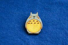 Totoro brooch badge wood painted grey animal pin cat owl cartoon fan