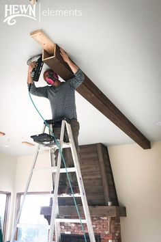 Hewn Elements DIY Ceiling Beam Install Diy ceiling, Home decor, Ceiling beams, Rustic house, Dropped Faux Ceiling Beams, Faux Wood Beams, Ceiling Panels, Diy Home Crafts, Diy Home Decor, Room Decor, Diy Décoration, Easy Diy, Woodworking Projects Diy