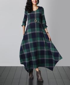 Another great find on #zulily! Green Plaid Handkerchief Maxi Dress #zulilyfinds