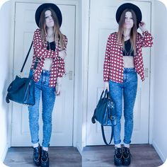 Burgundy White Hearts Pattern Shirt, Primark Jeans, Shoes, Bag