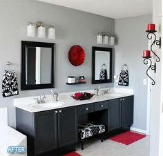 Great idea for my bathroom..Remove the big mirror and put up double mirrors, new fixtures and some paint. I like.: