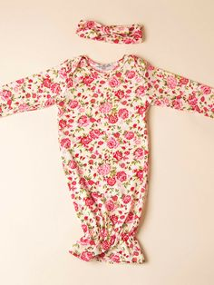 Shabby Chic Pink Floral Layette Gown Set