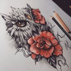 Drawing Realistic Skin Realistic Owl Tattoo with Red Roses - Best Owl Tattoos for Guys for the arm, thighs, wrist, chest or shoulders. Cute, small and colorful owl tattoos for girls for inspiration and ideas. Buho Tattoo, Et Tattoo, Piercing Tattoo, Arm Band Tattoo, Tattoo Drawings, Body Art Tattoos, Sleeve Tattoos, Tattoo Hip, Tattoo Wolf