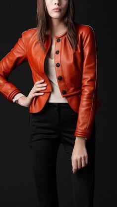 Burberry Prorsum bonded leather peplum jacket