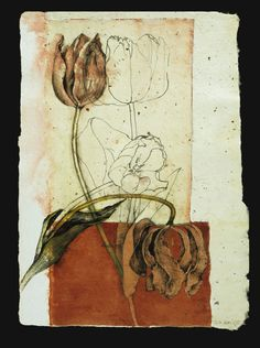 Susan Wood  - Bleeding Tulips.   Ink, watercolour, collage.