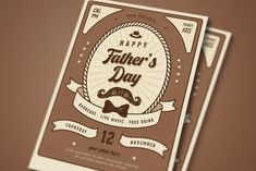 Vintage Fathers Day Flyer by VectorVactory on Business Brochure, Business Cards, 4th Of July Games, Find Fonts, 12 November, 4th Of July Celebration, Happy Fathers Day, Flyer Template, Presents